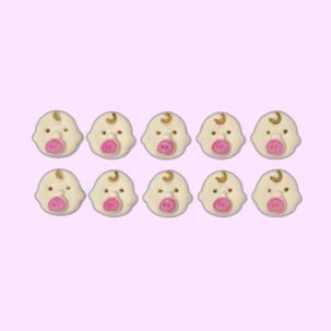 Baby Girl Cód.649RS (Pacote c/ 10 pçs. Medidas 1,5cm x 1,5cm