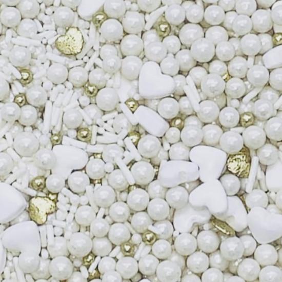 Sprinkles Branco c/ dourado Cód.502 (Pacote c/ 50g)