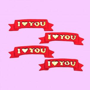Faixa I LOVE YOU Cód.625 (Pacote c/ 4 pçs. Medidas 6cm x 1,5cm)
