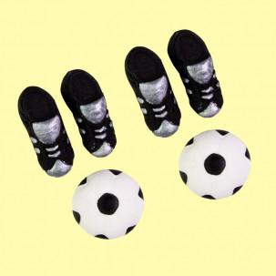 Chuteira c/ Bola G Cód.194 (Pacote c/ 4 chuteiras e 2 bolas. Medidas 3cm x 1,5cm)