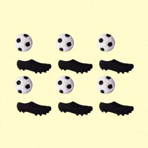 Chuteira c/ Bola P Cód.454 (Pacote c/ 6 chuteiras e 6 bolas. Medidas 2cm x 1cm)