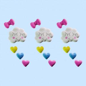 Chuva de Amor g Cód.469 (Pacote c/ 3 nuvens, 3 laços e 9 corações. Medidas 3,5cm x 2,5cm)