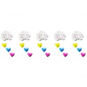Chuva de Amor p Cód.472 (Pacote c/ 5 nuvens, 15 corações. Medidas 2,5cm x 1,5cm)