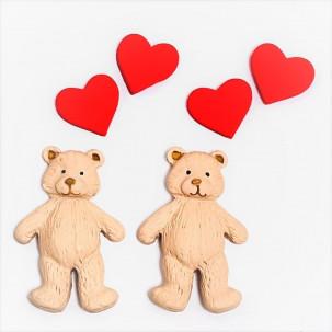 Urso Apaixonado G Cód.632 (Pacote c/ 6 pçs 2 ursos 4 corações. Medidas 4cm x 5,5cm)
