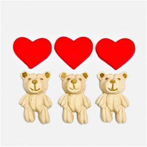 Urso Retalho Cód.627 (Pacote c/ 6 pçs 3 ursos 3 corações. Medidas 2cm x 3cm)