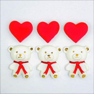 Urso Apaixonado Cód.628 (Pacote c/ 6 pçs 3 ursos 3 corações. Medidas 2,5cm x 3cm)