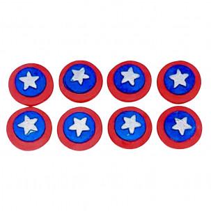 Escudo Cap. América Cód.399 (Pacote c/ 8 pçs. Medidas 2cm x 2cm)