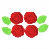 Rosa Safira Cód.492 (Pacote c/ 8 pçs 4 rosas e 4 folhas. Medidas 3,5cm)