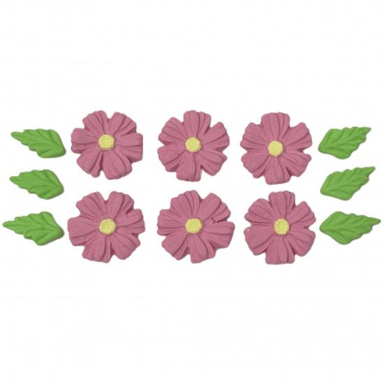 Margarida Pétala fechada Cód.610 (Pacote c/ 6 flores e 6 folhas. Medida 2,5cm x 2,5cm)