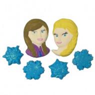 Frozen Cód.371 (Pacote c/ 2 princesas e 4 floco. Medidas 2cm x 3cm)