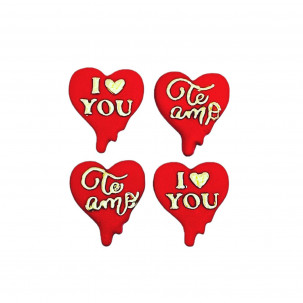 Coração Apaixonado Cód.626 (Pacote c/ 4 pçs. Medidas 2,5cm x 3cm)