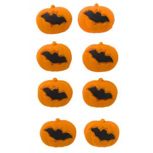 Abóbora Morcego Cód.348 (Pacote c/ 8 pçs. Medidas 1,7cm x 1cm)
