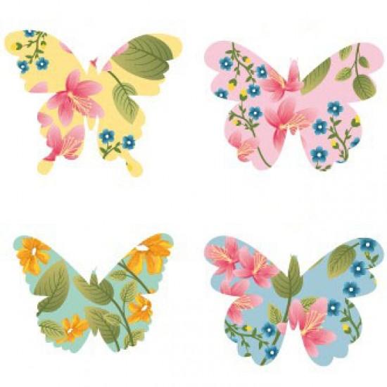 Borboleta Papel Arroz Floral (Pacote c/ 10 pçs. Medidas 4cm x 3,5cm)
