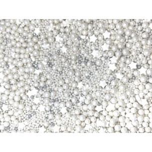 Sprinkles Branco e prata Cód.511 (Pacote c/ 50g)
