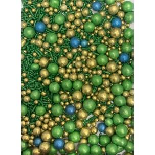 Sprinkles Azul, verde e ouro Cód.517 (Pacote c/ 50g)