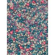 Sprinkles Azul, bco, coração rosa Cód.506 (Pacote c/ 50g)