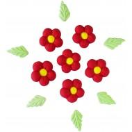 Flor Bolinha g Cód.284 (Pacote c/ 6 flores e 6 folhas)