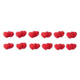 Coração Duplo mini Cód.381 (Pacote c/ 12 pçs. Medidas 1,5cm x 1cm)