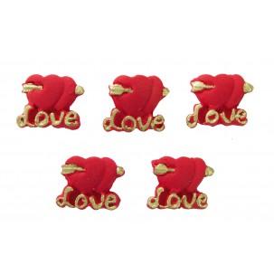 Coração Love Cód.382 (Pacote c/ 5 pçs. Medidas 2cm x 1cm)