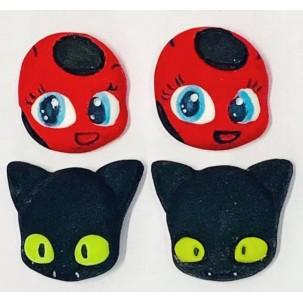 Ladybug e Miraculous Cód.495 (Pacote c/ 4 pçs. Medidas 2,5cm x 2,5cm)