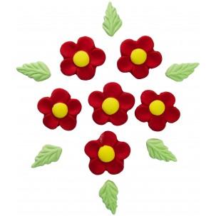 Marg. Pétalas Redondas Cód.007 (Pacote c/ 6 flores e 6 folhas. Medidas 2,5cm x 2,5cm)