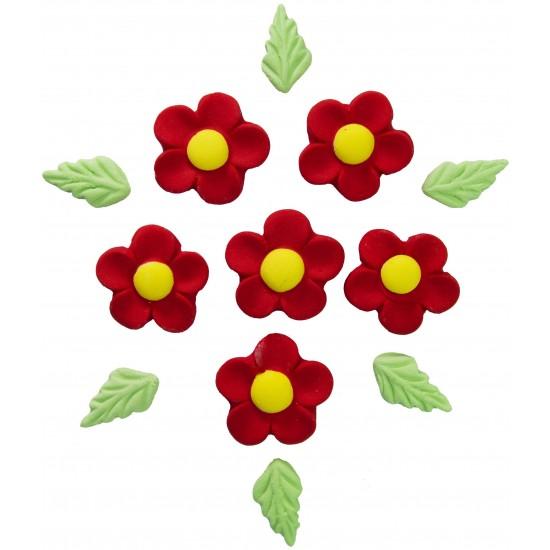 Marg. Pétalas Redondas Cód.007 (Pacote c/ 6 flores e 6 folhas)