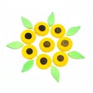 Girassol Mini Cód.498 (Pacote c/ 8 flores e 8 folhas)