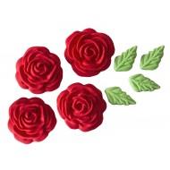 Rosa Cristal Cód.307 (Pacote c/ 8 pçs 4 rosas e 4 folhas. Medidas 2,5cm)