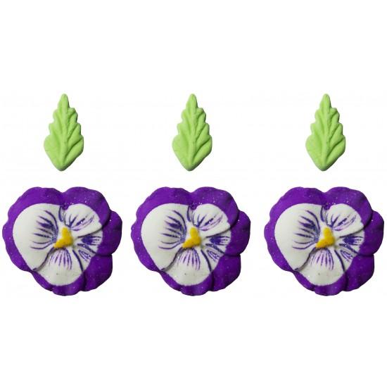 Flor Amor Perfeito Cód.280 (Pacote c/ 3 flores e 3 folhas)