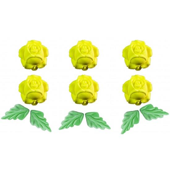 Flor deitada g Cód.236 (Pacote c/ 6 flores e 6 folhas)