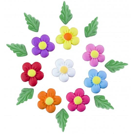 Margarida Color Cód.010 (Pacote c/ 8 flores e 8 folhas)