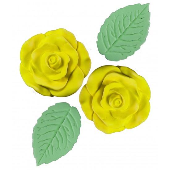 Rosa Bolacha Cód.238 (Pacote c/ 4 pçs 2 rosas e 2 folhas. Medidas 3,5cm)