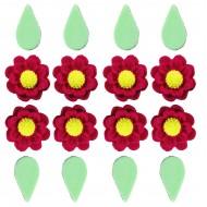 Flor Rubi Cód.450 (Pacote c/ 8 flores e 8 folhas)