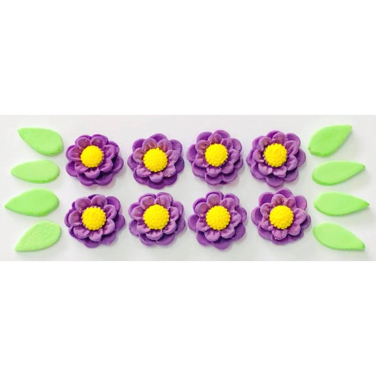 Flor Rubi Cód.450 (Pacote c/ 8 flores e 8 folhas. Medidas 2cm)