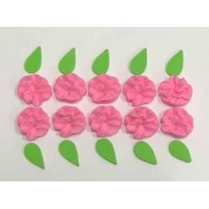 Flor Fru-Fru c/ brilho Cód.487 (Pacote c/ 10 flores e 10 folhas)