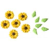 Girassol Cód.425 (Pacote c/ 6 flores e 6 folhas)