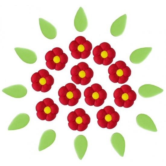 Flor Bolinha P Cód.226  (Pacote c/ 12 flores e 12 folhas. Medidas 1,5cm)