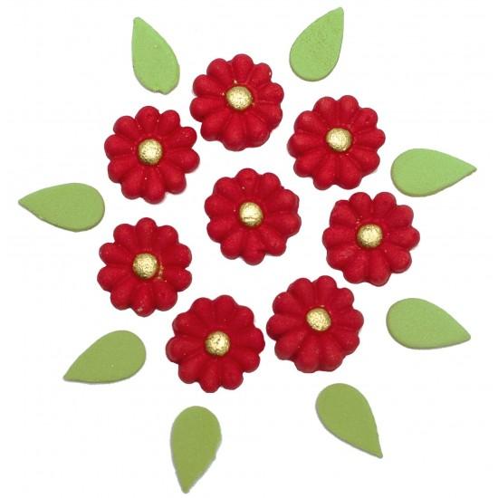 Marg. Miolo dourado Cód.283  (Pacote c/ 8 flores e 8 folhas)