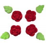 Rosa Yasmin Cód.464 (Pacote c/ 8 pçs 4 rosas e 4 folhas. Medidas 3,5cm)