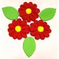 Margarida GG Cód.216 (Pacote c/ 3 flores e 3 folhas)