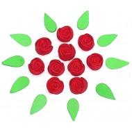 Botão de Rosa P Cód.491 (Pacote c/ 10 flores e 10 folhas. Medidas 1cm)