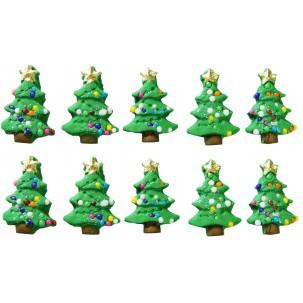 Natal Árvore P Cód.080 (Pct. c/ 10 pçs. Med. 1,5cm x 2cm)