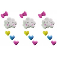 Chuva de Amor g Cód.469 (Pacote c/ 3 nuvens, 3 laços e 9 corações)
